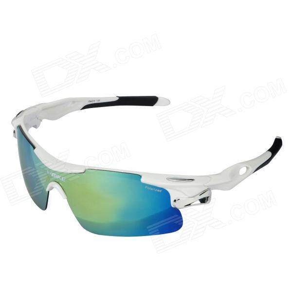 NBIKE T9358-C1 Outdoor Cycling Polarized PC Frame Resin Lens Sunglasses - White - DXGoggles<br>Brand NBIKE Model T9358-C1 Quantity 1 Color White Size One Size Gender Unisex Frame Color White Lens Color Grey plated REVO Frame Material PC Lens Material Resin Frame Height 4.4 cm Lens Width 13.3 cm Overall Width of Frame 15 cm Bridge Width 2 cm Functions Comfortable to wear; Can cut off glare caused by reflection refraction and scatter protecting your eyes from hurt and fatigue letting eyes see clear; Nose pad is made of quality rubber anti-slip and comfortable; Suitable for various outdoor sports such as driving cycling wargame and travel Packing List 1 x Sunglasses 1 x Cleaning cloth 1 x Test 1 x Strap 1 x Pouch 1 x Multifunction screwdriver 1 x Packing box 4 x Lens (yellow tan transparent multicolor)<br>