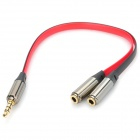 3.5mm Male to Dual Female Audio Split Y-Cable - Black + Red (22cm)