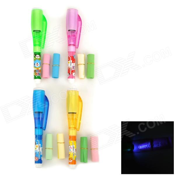 Secret Message Pen / Invisible Ink Pen w/ UV Light - Deep Pink + Green + Yellow + Blue (4 PCS) цена