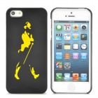 Protective Plastic Back Case for iPhone 5 - Black + Yellow