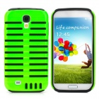 Protective Microphone Plastic Silicone Back Case for Samsung Galaxy S4 - Black + Green