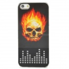 Protective 3D Flame Skull Plastic Back Case w/ Flashing LED for iPhone 5 - Black