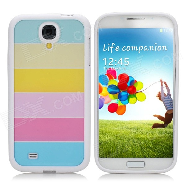 Protective PC + PVC Rainbow Back Case for Samsung Galaxy S4 / i9500 - White protective pvc back case for samsung galaxy s ii i9100 black