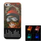 Cool 3D Skull Pirate Pattern Plastic Back Case w/ LED Signal Light for Iphone 5 - Multicolored