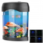 HL-31 Multicolored PVC Decorative Fish Tank w/ 3 Jellyfish - Black + Transparent