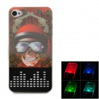 Cool 3D Skull Pirate Pattern Plastic Back Case w/ LED Signal Light for Iphone 4 / 4S - Multicolored