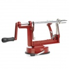 0808 Hand-Operated Super Fast Fruit Peeler Corer Slicer Machine - Silver + Red