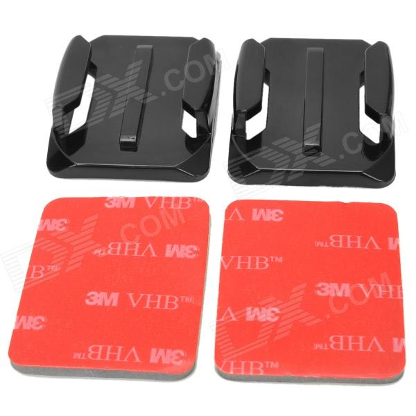 Miniisw M-C Curved Mount w/ 3M Sticker for Gopro Hero 4/ 3+ / 3 / Hero2 / Hero / SJ4000 - Black (2 PCS)