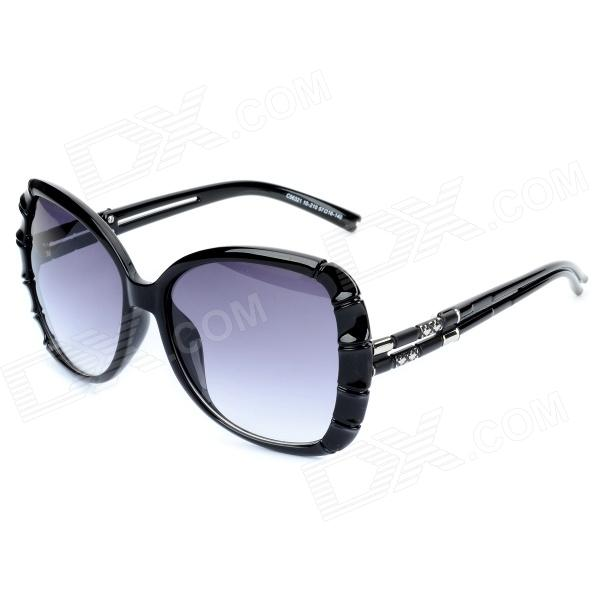 LANGTEMENG C56321 10-210 Fashion Elegant Womens UV400 Protection Sunglasses - Black - DXSunglasses<br>Brand LANGTEMENG Model C56321 10-210 Quantity 1 Gender Womens Suitable for Adults Protection UV400 Frame Color Black Lens Color Gradual grey Frame Material AB acetate Lens Material Resin Lens Height 53 mm Lens Width 55 mm Bridge Distance 16 mm Overall Width of Frame 140 mm Temple Length 134 mm Features Fashionable and elegant womens sunglasses; Provides best protection for your eyes and makes you more charming and attractive. Packing List 1 x Sunglasses 1 x Case 1 x Carrying pouch<br>