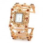 Fashionable Hollow out Band Rectangle Dial Quartz Analog Women's Wrist Watch - Golden (1 x LR626)