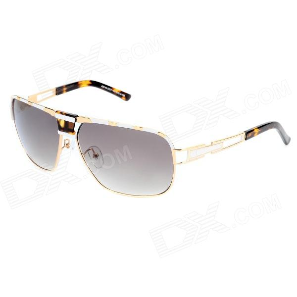 LANGTEMENG J58143 D227-193 Fashion Men's UV400 Protection Sunglasses - White + Golden langtemeng c56334 fashion women s uv400 protection plastic frame resin lens sunglasses white red