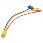USB Male to Lightning 8-Pin / 30-Pin / Micro USB Male Charging Cable - Yellow + Red + Blue (20cm)