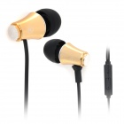 Stylish In-Ear Stereo Earphones w/ Microphone for Iphone - Golden + Black (3.5mm Plug / 110cm)