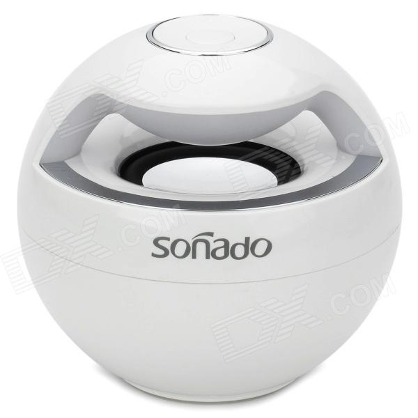 Sonado F16 Mini Portable Wireless Bluetooth Speaker w/ Mic / Receiving Call - White 10 pcs lot mini portable subwoofer shower waterproof wireless bluetooth speaker car handsfree receive call music suction mic