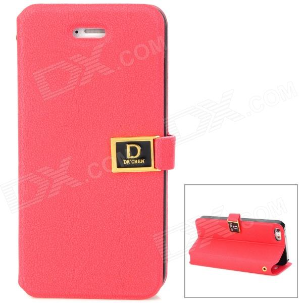 Stylish PU Leather Flip-Open Case w/ Card Slots for Iphone 5 - Red stylish flip open pu leather tpu case w holder for iphone 4 4s red