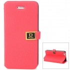 Stylish PU Leather Flip-Open Case w/ Card Slots for Iphone 5 - Red