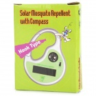Solar Powered Sound Wave Mosquito Repellent / Repeller w/ Compass - Silver + Green