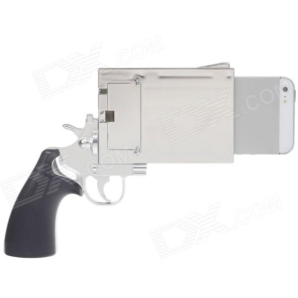 Pistol Style Protective Plastic Case for iPhone 5 - Silver + Black