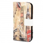 Vintage London Big Ben Tower Bridge Pattern PU Leather Flip-Open Case for iPhone 5 - Multicolor