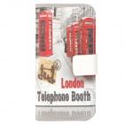 London Telephone Booth Pattern Protective PU Leather Case for Iphone 5 - Grey + Red