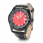 ORKINA MG025-R Round Genuine Leather Band Quartz Wrist Watch - Black + Red