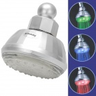 SHENDING LD8010-A2 Water Generated 4-LED Blue Light Round Shower Head w/ Filter - Silver