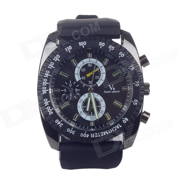 Super speed V6 V0122 Imitation Racer Quartz Wrist Watch for Man - Black (1 x LR626) go6800 b1 g92 700 a2 g92 720 a2 g92 740 a2 g92 975 a2 g92 985 a2 g92 283 b1 g92 284 b1 g92 286 b1 g92 289 b1 stencil