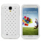 Detachable Rhinestones Protective Plastic + Silicone Back Case for Samsung Galaxy S4 / i9500 - White