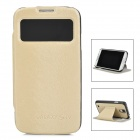 Wood Texture Pattern PU Leather Flip-Open Case for Samsung Galaxy S4 / i9500 - Beige + Black