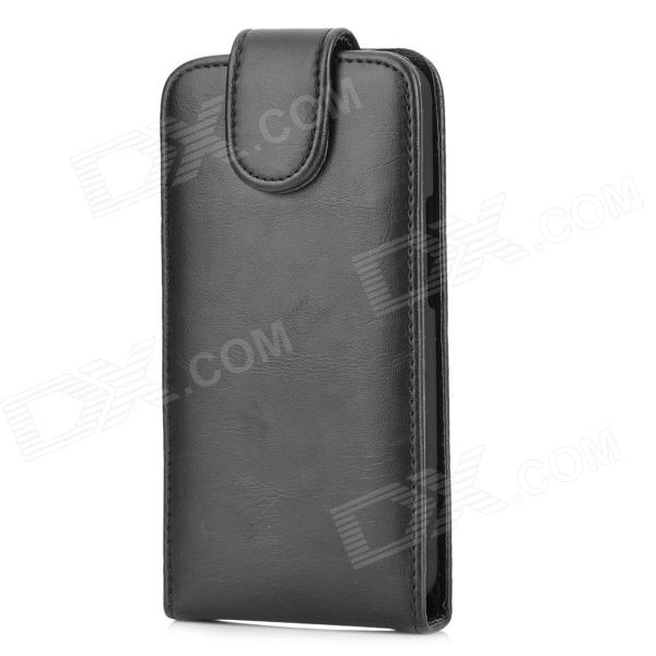 Protective PU Leather Cover PC Hard Back Case for HTC M7 - Black