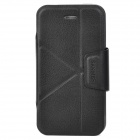 Multiple Folding PU Leather Stand Cover w/ Plastic Back Case for Iphone 4 / 4S - Black