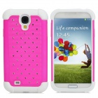 Detachable Rhinestones Protective Plastic + Silicone Back Case for Samsung i9500 - Deep Pink
