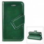 Stylish Flip-Open PU Leather Stand Case w/ Card Slots for Iphone 4 / 4S - Dark Green