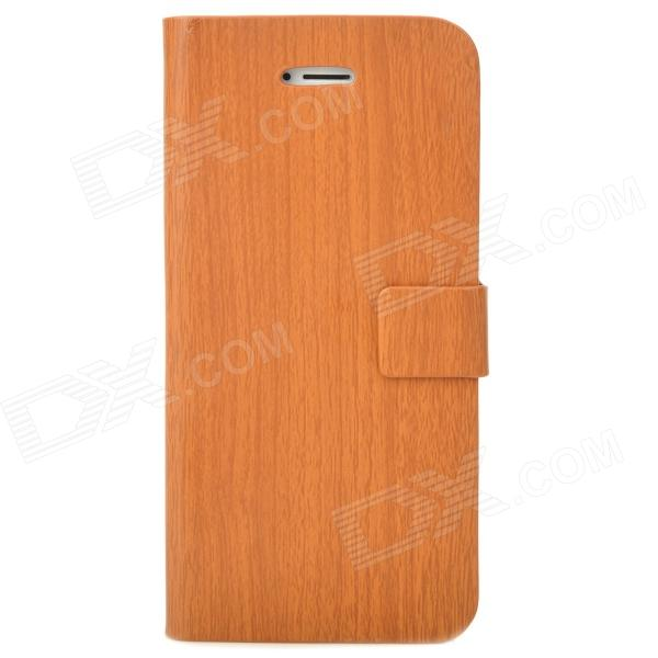 Unique Wooden Pattern Flip-Open PU Leather Stand Case for Iphone 5 - Brown wood grain style protective pu pc flip open case for ipad mini 2 wooden brown