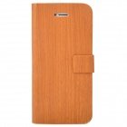 Unique Wooden Pattern Flip-Open PU Leather Stand Case for Iphone 5 - Brown