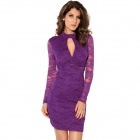 Fashion Knot Front Lace Long Sleeve Dress - Purple (Size L)