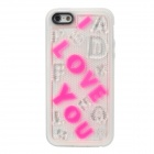 "3D ""I LOVE YOU"" Pattern Glow-in-the-Dark Plastic Back Case for Iphone 5 - White"