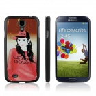 ENKAY The Girl in Red Pattern Protective Plastic Case for Samsung Galaxy S4 / i9500 - Black + Red