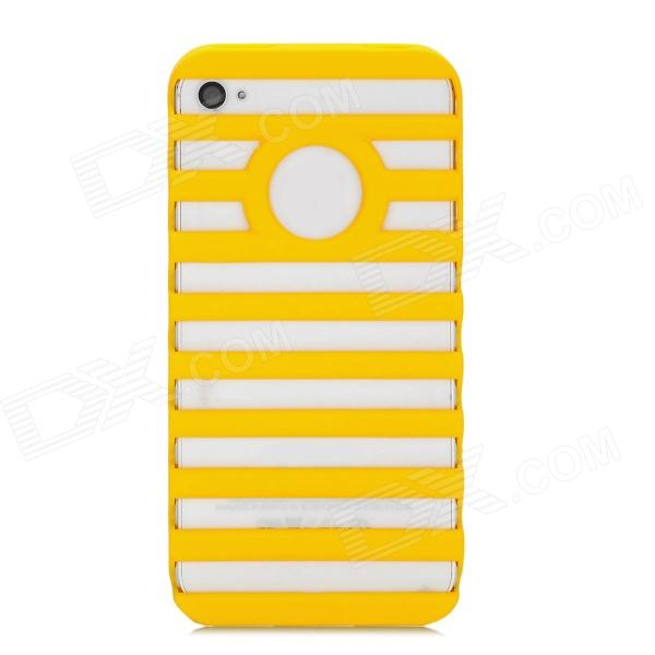 Ladder Designed Protective Plastic Case for Iphone 4 / 4S - Yellow protective plastic case for motorola razr xt910 yellow