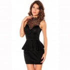 LC2710-2 Sexy Entrancing Hollow-out Back Peplum Dress for Women - Black (Size L)