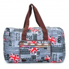 Travel Foldable Waterproof Printing Fabric Shoulder Bag - Grey