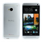 Stylish Protective Plastic Back Case for HTC One M7 - White + Translucent White