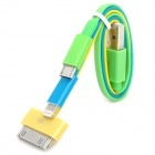 USB to 8-Pin Lightning + iPhone/Samsung 30-Pin + Micro USB Charging Cable - Yellow + Blue + Green
