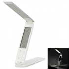 Foldable 3W 180lm 30-LED Warm White Light Eye-Protection Lamp w/ Time / Calendar - White + Silver