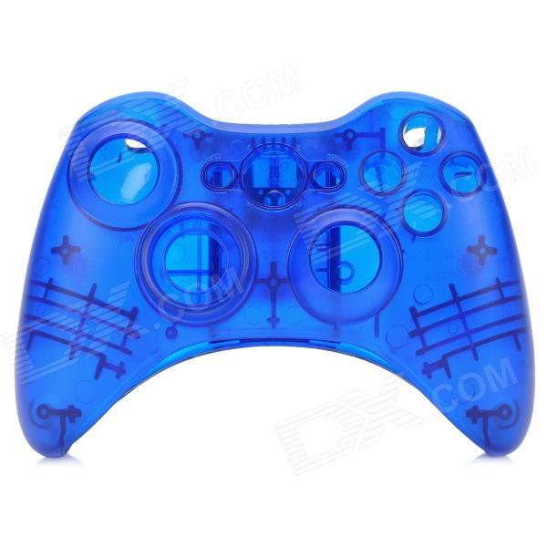 Protective ABS Full Shell Case Set for Xbox 360 Wireless Control - Translucent Blue one piece 1x brand new high quality silicon protective skin case cover for xbox 360 remote controller blue green mix color