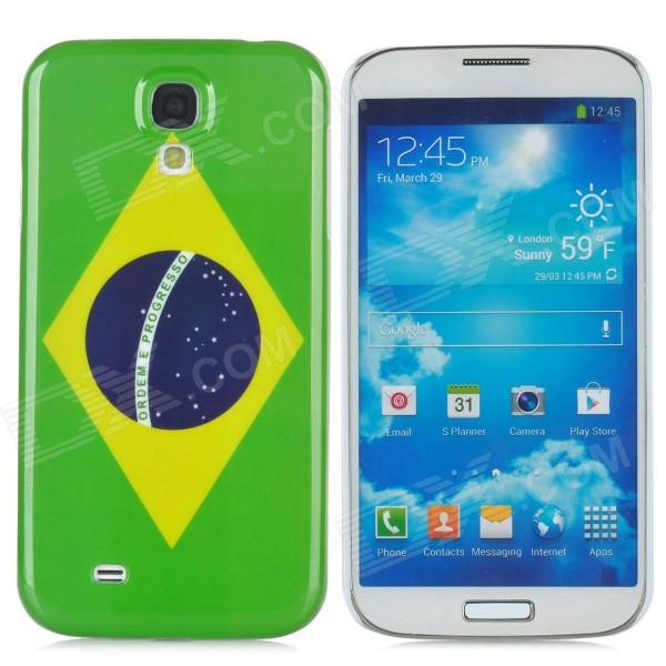 Brazil National Flag Pattern Plastic Back Case for Samsung Galaxy S4 / i9500 - Green + Blue + Yellow protective round tribe tattoo pattern back case for samsung galaxy s4 i9500 green blue yellow