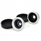 Universal 3-in-1 Fisheye + Wide Angle + Macro Lens for Ipad / Iphone + More - Black + Silver