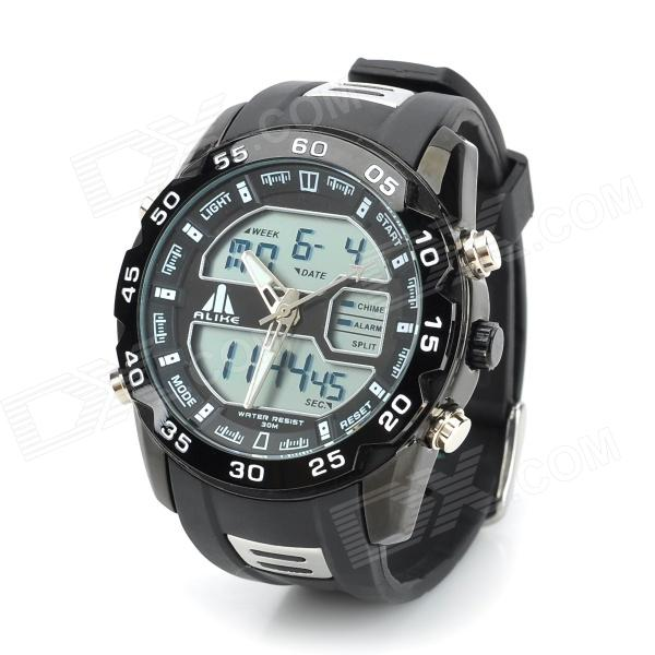 ALIKE AL113 Waterproof Backlit Analogue & Digital Display Quartz Wristwatch (1 x CR2016/1 x SR626SW)