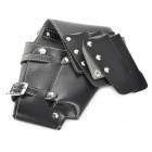 Portable Artificial Leather Hair Scissor Bag Holder - Black