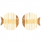 Fish Shape Bamboo Heat Insulation Mat / Pad - Light Brown + Beige (2 PCS)